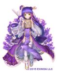 1girl commentary_request flower flower_knight_girl full_body green_eyes hair_ornament lavender_(flower_knight_girl) long_hair looking_at_viewer marriage_certificate_(object) nakaishow navel official_art purple_hair shoes short_sword smile solo sword thigh-highs weapon