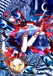 1girl arawara blonde_hair bow building cross-laced_footwear dress frilled_dress frills hat high_heels highres long_hair maid maid_headdress moon multiple_weapons red_dress red_footwear ribbon skirt sword tiles touhou touhou_(pc-98) underskirt upside-down weapon white_skirt yellow_eyes yumeko_(touhou)