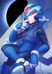 1boy android armor copy_x_(mega_man) glowing glowing_eyes hand_up helmet iiimirai male_focus mega_man_(series) mega_man_zero parted_lips red_eyes solo twitter_username