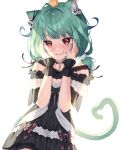 1girl absurdres ahoge animal_ear_fluff animal_ears animal_on_head bangs bird bird_on_head black_choker black_dress blush cat_ears cat_girl cat_tail chick choker commentary_request dress eyebrows_visible_through_hair green_hair hair_ornament hands_on_own_face hands_up highres hololive long_hair looking_at_viewer noise off-shoulder_dress off_shoulder on_head parted_lips piyoko_(uruha_rushia) red_eyes short_sleeves simple_background skull_hair_ornament solo tail twintails upper_body uruha_rushia virtual_youtuber white_background wrist_cuffs xiho_(suna)