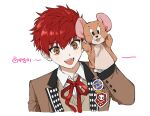 1boy bangs brown_eyes brown_jacket buried_stars eyebrows_visible_through_hair hair_between_eyes hand_puppet highres jacket jerry_(tom_and_jerry) long_sleeves male_focus monza_(saeumon) open_mouth puppet red_neckwear redhead seo_hyesung simple_background solo sweater_vest tom_and_jerry upper_body white_background