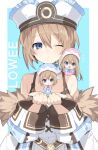 3girls :d :o ;( alternate_size bare_shoulders blanc blue_coat blue_eyes blue_headwear blue_neckwear blush bow bowtie brown_hair buran_buta coat dress expressionless full_body fur-trimmed_coat fur_trim hair_between_eyes hands_up happy hat highres leaning_over long_hair looking_at_another looking_at_viewer medium_hair minigirl multiple_girls neptune_(series) off-shoulder_coat off_shoulder on_shoulder one_eye_closed open_mouth pink_coat pink_headwear pink_neckwear pom_pom_(clothes) ram_(re:zero) rom_(idaten93) siblings sisters sitting_on_hand smile spaghetti_strap twins upper_body very_long_hair white_coat white_dress white_headwear wide_sleeves