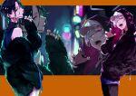 2girls baseball_cap black_hair black_hoodie black_pants black_sweater blue_nails blurry blurry_background claw_pose commentary_request cowboy_shot earrings eyebrows_visible_through_hair eyewear_removed from_side fur_coat glasses hair_over_one_eye hand_in_pocket hat hat_under_hood highres holding holding_eyewear hood hood_up hoodie jewelry long_hair multiple_girls nail_polish nijisanji off_shoulder open_mouth orange_background orange_eyes pants parted_lips profile purple_hair purple_nails purple_shirt round_eyewear sharp_teeth shirayuki_tomoe shirt shuu-0208 sleeveless sleeveless_sweater sleeveless_turtleneck sukoya_kana sweater teeth tongue tongue_out turtleneck violet_eyes white_headwear zoom_layer