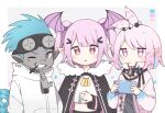 1boy 2girls :| antenna_hair arknights black_cape blue_hair blue_nails blush cape cellphone chameleon_tail chibi closed_mouth colored_skin commentary cropped_shirt dog_tags ethan_(arknights) fur-trimmed_cape fur_trim grey_eyes grey_shirt grey_skin hair_ornament hairclip hand_up head_wings highres holding holding_phone jacket kirara_(arknights) looking_at_viewer manticore_(arknights) mouth_hold multiple_girls nano_mochi open_clothes open_jacket open_mouth oversized_zipper phone pink_eyes pink_hair pink_jacket shirt short_hair tail trait_connection twintails white_jacket white_shirt