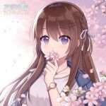 1girl bangs blue_jacket blurry blurry_background blurry_foreground blush braid breasts brown_hair character_request commentary_request copyright_name depth_of_field eyebrows_visible_through_hair flower hair_between_eyes hair_ornament hair_ribbon hairclip hand_up hitsuki_rei holding holding_flower jacket jacket_on_shoulders long_hair looking_at_viewer petals pink_flower ribbon shirt small_breasts snowdreams_-lost_in_winter- solo taiwan tree_branch upper_body violet_eyes watch watch white_ribbon white_shirt