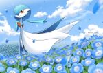 alternate_color blue_flower blurry closed_mouth clouds colored_skin commentary_request day enishi_(menkura-rin10) field flower flower_field gardevoir gen_3_pokemon hand_on_own_chest highres orange_eyes outdoors outstretched_arm petals pokemon shiny_pokemon sky smile standing white_skin