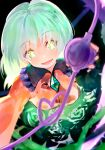 1girl :d blouse breasts bright_pupils dark_background eyeball floral_print green_eyes green_hair green_skirt heart heart_of_string highres koishi_day komeiji_koishi medium_breasts no_hat no_headwear open_mouth plant simple_background skirt smile solo suisa third_eye thorns touhou vines yellow_blouse