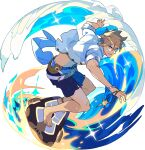 1boy anchor_symbol ankleband arms_up artist_request bangs barefoot belt blue_eyes blue_ribbon bracelet brown_hair day from_side full_body grin hair_between_eyes happy highres holding holding_jewelry holding_necklace jewelry lazaret_(world_flipper) looking_at_viewer male_focus male_swimwear navel necklace non-web_source ocean official_art open_clothes open_shirt outdoors ribbon see-through shiny shiny_hair shirt short_hair short_sleeves sidelocks sleeves_rolled_up smile solo sparkle standing surfboard surfing swim_trunks teeth transparent_background v-shaped_eyebrows water waves white_shirt world_flipper