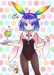 1girl alternate_costume animal_ears blue_eyes blue_hair carrot highres multicolored_hairband playboy_bunny pote_(ptkan) rabbit rabbit_ears rainbow rainbow_gradient short_hair solo tenkyuu_chimata touhou