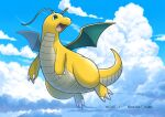 claws clouds commentary_request day dragonite enishi_(menkura-rin10) full_body gen_1_pokemon green_eyes highres looking_back no_humans open_mouth outdoors pokemon pokemon_(creature) sky solo tongue