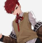 1boy absurdres bangs blush brown_eyes brown_jacket buried_stars grey_background hair_between_eyes highres jacket long_sleeves male_focus monza_(saeumon) mouth_hold neck_ribbon open_clothes open_jacket red_neckwear redhead ribbon seo_hyesung shirt simple_background solo sweater_vest undercut upper_body white_shirt