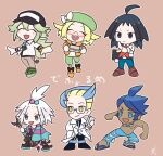2girls 4boys ahoge bangs baseball_cap belt bianca_(pokemon) black_hair black_headwear blonde_hair blue_eyes blue_footwear blue_hair blue_pants blush_stickers boots bow brown_background brown_footwear brown_pants cheren_(pokemon) chibi closed_eyes closed_mouth coat colress_(pokemon) commentary_request dress flip-flops glasses goggles goggles_around_neck green_footwear green_hair green_headwear green_pants gym_leader hair_bobbles hair_ornament happy hat hat_bow holding jacket jewelry kanade long_hair long_sleeves marlon_(pokemon) multicolored_hair multiple_boys multiple_girls n_(pokemon) necklace open_clothes open_jacket open_mouth orange_footwear orange_jacket outline pants pointing pokemon pokemon_(game) pokemon_bw pokemon_bw2 red-framed_eyewear roxie_(pokemon) sandals semi-rimless_eyewear shirt shoes short_hair simple_background smile spiky_hair standing striped striped_dress topknot two-tone_dress two-tone_hair upper_teeth white_bow white_coat white_hair white_shirt yellow_eyes |d