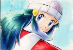1girl beanie blue_eyes blue_hair closed_mouth coat commentary_request dawn_(pokemon) eyelashes frown green_hair hair_ornament hairclip hat iwane_masaaki long_hair looking_back multicolored_hair pokemon pokemon_(game) pokemon_dppt pokemon_platinum red_coat scarf sketch solo upper_body white_headwear white_scarf winter_clothes