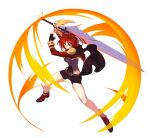 amenoki bangs black_gloves boots breasts brown_footwear brown_shorts cape fighting_stance fire full_body gloves highres holding holding_sword holding_weapon honkai_(series) honkai_impact_3rd jacket looking_at_viewer murata_himeko murata_himeko_(valkyrie_triumph) red_jacket redhead shorts simple_background smile sword teeth weapon white_background yellow_eyes