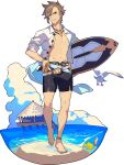 1boy anchor_symbol ankleband artist_request bangs barefoot beach belt bird blue_eyes blue_ribbon bracelet brown_hair closed_mouth clouds clownfish collarbone day fish full_body groin hand_on_hip happy highres holding holding_surfboard jewelry lazaret_(world_flipper) leg_up looking_at_viewer male_focus male_swimwear navel necklace non-web_source ocean official_art open_clothes open_shirt outdoors ribbon sand seagull shiny shiny_hair shirt short_hair short_sleeves sidelocks sleeves_rolled_up smile solo standing standing_on_one_leg stilt_house stomach surfboard swim_trunks toned toned_male transparent_background v-shaped_eyebrows walking water white_shirt world_flipper