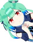 blue_dress dress green_hair hair_ornament hair_ribbon highres hololive okami_ryoushi red_eyes ribbon self_upload skull_hair_ornament uruha_rushia white_background
