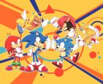 6+boys :d :o black_eyes closed_eyes dual_persona flying fox_boy gloves green_eyes grin happy high_five highres knuckles_the_echidna michiyoshi mighty_the_armadillo multiple_boys open_mouth ray_the_flying_squirrel red_footwear shoes smile sneakers sonic_(series) sonic_mania sonic_the_hedgehog sonic_the_hedgehog_(classic) squirrel_boy tail tails_(sonic) white_gloves