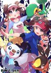 1boy 1girl :d absurdres black_legwear blue_eyes blue_jacket blush bow bright_pupils brown_hair collarbone commentary_request double_bun gen_5_pokemon grey_shorts hand_on_headwear hands_up highres holding holding_poke_ball jacket legwear_under_shorts long_hair looking_at_viewer nate_(pokemon) open_mouth oshawott pantyhose pink_bow poke_ball poke_ball_(basic) pokemon pokemon_(creature) pokemon_(game) pokemon_bw2 pon_yui raglan_sleeves red_headwear rosa_(pokemon) short_hair short_shorts short_sleeves shorts smile snivy starter_pokemon_trio tepig tongue twintails visor_cap white_pupils yellow_shorts zipper_pull_tab