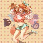 1girl bird bloop_(gawr_gura) bubba_(watson_amelia) carrotsprout chick chicken death-sensei_(mori_calliope) goodbye_sengen_(vocaloid) green_legwear green_shorts halo heart highres hololive hololive_english hood hoodie jacket jumping kotori_(takanashi_kiara) orange_hair orange_hoodie orange_jacket pillow short_shorts shorts sleepwear smile striped striped_legwear stuffed_animal stuffed_toy takanashi_kiara tako_(ninomae_ina'nis)