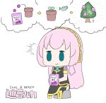 1girl ^^^ absurdres aqua_eyes armband arrow_(symbol) bag black_legwear black_shirt black_skirt boots brand_name_imitation candy character_name chibi commentary eating emphasis_lines food gold_trim hatsune_negame headphones highres holding holding_bag imagining knee_boots long_hair megurine_luka pink_hair plant pot potted_plant sapling shirt short_sleeves side_slit simple_background sitting skirt solid_oval_eyes solo stick_figure thigh-highs thought_bubble tree very_long_hair vocaloid watering_can white_background