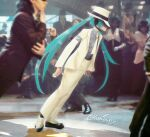 absurdres aqua_hair armband commentary cosplay derivative_work fedora formal from_side full_body grey_shirt hat hatsune_miku headphones headset highres huge_filesize jacket kanpaithighs leaning_forward long_hair michael_jackson michael_jackson_(cosplay) necktie pants parody photo_background shade shirt silver_nails smooth_criminal suit suit_jacket twintails twitter_username very_long_hair vocaloid white_headwear white_jacket white_neckwear white_pants white_suit