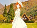 blue_eyes dress higurashi_no_naku_koro_ni looking_at_viewer orange_hair outdoors ryuuguu_rena smile tagme third-party_edit white_dress white_headwear