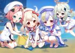 4girls :d :o all_fours animal_ears bangs bare_arms bare_shoulders beach beret black_sailor_collar blush bow braid brown_footwear bucket cat_ears cat_girl cat_tail closed_mouth commentary_request conch day diona_(genshin_impact) dress eyebrows_visible_through_hair fang feathers feet_out_of_frame frilled_dress frills genshin_impact green_eyes grey_eyes grey_hair hair_bow hair_ornament halo hat hat_feather holding holding_bucket klee_(genshin_impact) light_brown_hair long_hair low_twintails multiple_girls ofuda open_mouth outdoors paimon_(genshin_impact) parted_lips pink_hair puffy_short_sleeves puffy_shorts puffy_sleeves purple_hair purple_sailor_collar qiqi_(genshin_impact) red_bow red_footwear sailor_collar sailor_dress sand sandals short_eyebrows short_shorts short_sleeves shorts single_braid sleeveless sleeveless_dress smile squatting tail thick_eyebrows twintails v-shaped_eyebrows very_long_hair violet_eyes water white_dress white_feathers white_headwear white_shorts yamabukiiro