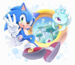 1boy :d animal_nose furry gloves green_eyes jewelry middle_w neru_(neruneruru) open_mouth ring shoes smile sneakers sonic_(series) sonic_colors sonic_the_hedgehog w white_gloves wisp_(sonic)