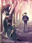 2boys bangs black_eyes black_hair book cherry_blossoms cloak crossed_legs edmond_dantes_(fate) fate/grand_order fate_(series) fence fujimaru_ritsuka_(male) hair_over_one_eye hat highres holding holding_book japanese_clothes kimono multiple_boys open_mouth petals pixiv_fate/grand_order_contest_1 reading road running scarf school_uniform shadow short_hair silver_hair smile spring_(season) street taishou tree tuze111 uniform yellow_eyes