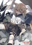 1girl alternate_costume animal_ears arknights arm_support black_legwear black_skirt blonde_hair character_name fang feet_out_of_frame fox_ears fox_girl fox_tail hair_between_eyes hair_ornament hairclip knee_pads looking_at_viewer medium_hair midriff_peek open_mouth orange_eyes plant pleated_skirt prosthesis prosthetic_arm red_(girllove) school_uniform shirt sitting skirt solo tail tooth_necklace twitter_username vermeil_(arknights) white_shirt