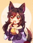 +_+ 1girl absurdres animal_ears arms_up bangs bare_shoulders blouse blush brown_hair burger dress dungeon_toaster eyebrows_visible_through_hair food food_focus frills gem gradient gradient_background hair_between_eyes hands_up heart highres imaizumi_kagerou ketchup long_hair long_sleeves looking_at_viewer multicolored multicolored_background open_mouth orange_background potato red_dress red_eyes smile solo tail touhou white_blouse white_sleeves wolf_ears wolf_tail yellow_background