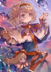 1girl absurdres alice_margatroid blonde_hair blue_dress blue_eyes blush capelet cha_goma closed_mouth doll dress hairband highres lolita_hairband long_hair long_sleeves red_hairband red_neckwear red_ribbon ribbon shanghai_doll short_hair solo touhou white_capelet