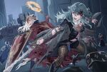 2girls axe aymr_(fire_emblem) battle bleeding blood bloody_clothes boots byleth_(fire_emblem) byleth_eisner_(female) byuub cape clothing_cutout edelgard_von_hresvelg fire_emblem fire_emblem:_three_houses green_hair horned_headwear injury multiple_girls navel_cutout night open_mouth pantyhose shield short_shorts shorts silver_hair sword tiara weapon