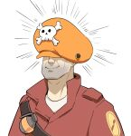 1boy borrowed_garments emphasis_lines francisco_mon guilty_gear hat highres may_(guilty_gear) smile solo team_fortress_2 the_soldier