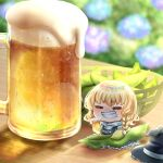 1girl alcohol basket bean_sprout beer beer_mug black_dress black_headwear blonde_hair blue_flower blurry blurry_background blush braid buttons chibi closed_eyes cup depth_of_field dress eyebrows_visible_through_hair flower flower_request foam food food_on_face frills grin hat hat_removed headwear_removed highres holding holding_cup kirisame_marisa long_hair minigirl mug nose_blush outdoors petticoat rainbow_order reflection single_braid sitting smile solo suna_sen table touhou turtleneck v-shaped_eyebrows witch_hat wooden_table