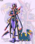 1girl character_name contrapposto creature_and_personification english_commentary english_text full_body gen_3_pokemon great_ball highres kamen_rider personification poke_ball pokemon pokemon_(creature) power_armor purple_background seviper signature standing to_ze tokusatsu zoom_layer
