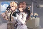 2girls binoculars black_neckwear blonde_hair blue_eyes blue_sky breasts brown_hair cherry_blossoms collared_shirt cowboy_shot epaulettes fairy_(kancolle) gambier_bay_(kancolle) gloves headgear highres himeyamato iowa_(kancolle) jacket johnston_(kancolle) kantai_collection khakis large_breasts long_hair military military_uniform multiple_girls ocean one_eye_closed pants ponytail shirt sky star-shaped_pupils star_(symbol) symbol-shaped_pupils uniform white_gloves white_jacket yamato_(kancolle)