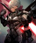 1girl apex_legends armor bodysuit expressionless gloves grey_bodysuit grey_eyes grey_gloves grey_hair hair_behind_ear jetpack looking_to_the_side mechanical_wings science_fiction short_hair solo tarbo_(exxxpiation) valkyrie_(apex_legends) wings