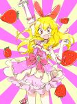 1girl aikatsu! aikatsu!_(series) arm_up bangs bead_bracelet bead_necklace beads blonde_hair bow bracelet dress elbow_gloves eyebrows_visible_through_hair food fruit gloves hair_between_eyes hair_bow hoshimiya_ichigo jewelry long_hair mokeo necklace open_mouth pink_dress red_bow red_eyes simple_background solo strawberry white_gloves