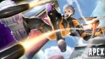 1girl apex_legends bodysuit boots brown_eyes clouds copyright_name falling firing foreshortening grey_hair hair_behind_ear highres jetpack knee_boots logo looking_down mechanical_wings metal_boots missile missile_pod mugetsu2501 olympus_(apex_legends) open_mouth orange_bodysuit science_fiction short_hair silver_hair sky smile solo valkyrie_(apex_legends) wings