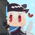 1girl aqua_background arknights black_gloves black_headwear blue_capelet blush_stickers broken_heart capelet chibi chinese_commentary closed_mouth commentary_request eyebrows_visible_through_hair eyes_visible_through_hair gloves grey_shirt hair_between_eyes hat lieyan_huangzi long_hair open_mouth red_eyes shirt silver_hair skadi_(arknights) smile solo tearing_up wavy_mouth