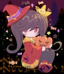 1girl ashley_(warioware) bangs black_hair black_legwear blush chibi closed_mouth d_omm dress hair_over_one_eye hat holding jack-o'-lantern knees_up long_hair long_sleeves looking_at_viewer mini_hat mini_witch_hat pantyhose red_dress red_eyes red_footwear red_headwear shoe_soles shoes sleeves_past_wrists solo tilted_headwear twintails very_long_hair warioware wide_sleeves witch_hat