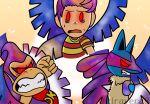 alternate_eye_color alternate_hair_color angry corruption crossover dark_persona donkey_kong donkey_kong_(series) galeem gen_4_pokemon glowing glowing_eyes hal_laboratory highres kiravera8 long_hair looking_at_viewer lucario lucas_(mother_3) mother_(game) mother_3 multicolored multicolored_hair multicolored_wings nintendo open_mouth pokemon pokemon_(creature) possessed red_eyes sad super_smash_bros. tears watermark wings