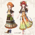2girls :d arm_behind_back artist_name barefoot blue_nails bracelet braid breasts brown_dress brown_eyes dress fantasy fashion flower hair_flower hair_ornament highres horns jewelry medium_breasts multiple_girls open_mouth orange_hair original redhead sandals sho_(sumika) short_sleeves single_horn small_breasts smile standing white_background