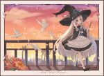 1girl bird blue_eyes dove flower hat highres holding holding_wand japanese_clothes kaguya_(onmyoji) long_hair looking_at_viewer magical_girl onmyoji rooftop smokestack solo very_long_hair vincente wand white_hair witch witch_hat