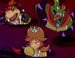alternate_eye_color angry blonde_hair blue_fur bowser_jr. brown_hair cape corruption crossover crown dark_persona dharkon donkey_kong_(series) donkey_kong_country fangs glowing glowing_eyes hal_laboratory highres king_k._rool kiravera8 long_hair looking_at_viewer looking_to_the_side mario_(series) nintendo open_mouth pointy_ears possessed princess_daisy red_eyes sharp_teeth short_hair slit_pupils super_mario_bros. super_mario_land super_mario_sunshine super_smash_bros. teeth tentacles tongue tongue_out veins