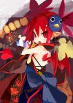 1girl absurdres alternate_costume demon_girl demon_tail demon_wings disgaea etna from_behind highres japanese_clothes looking_at_viewer makai_senki_disgaea miyakawa106 pointy_ears red_eyes redhead short_hair slit_pupils solo tail twintails wings