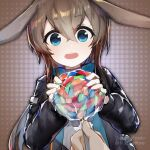 1girl absurdres amiya_(arknights) animal_ears arknights artist_name ascot black_jacket blue_collar blue_eyes blue_neckwear brown_hair candy chinese_commentary collar food hair_between_eyes happy highres holding holding_candy holding_food holding_lollipop jacket lollipop long_hair looking_at_viewer open_clothes open_jacket open_mouth pov pov_hands rabbit_ears rockyroo shirt solo_focus upper_body white_shirt