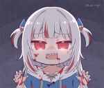 1girl bangs blush chibi commentary english_commentary gawr_gura hair_ornament hololive hololive_english kukie-nyan looking_at_viewer multicolored_hair open_mouth red_eyes redhead sharp_teeth silver_hair smile solo streaked_hair teeth virtual_youtuber