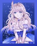 1girl absurdres air_bubble aqua_eyes bangs bare_shoulders black_background blonde_hair blue_background blue_border blue_dress blue_hair blurry border breasts bubble chain chained collar collarbone cuffs depth_of_field detached_sleeves dress earrings eyelashes gold_chain gold_trim gradient gradient_background gradient_hair hair_ornament haruhana_aya highres jewelry layered_dress light_particles long_hair looking_at_viewer medium_breasts metal_collar multicolored_hair official_alternate_costume outside_border parted_lips short_sleeves shoujo_kageki_revue_starlight shoujo_kageki_revue_starlight_-re_live- sidelocks solo star_(symbol) star_earrings strapless strapless_dress two-tone_dress two-tone_hair upper_body v_arms water_drop wavy_hair wet wet_hair white_dress wing_hair_ornament yumeoji_shiori